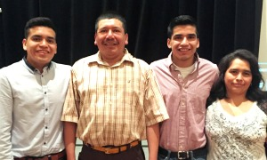 Former MSHS participant and NMSHSA Intern Yonny (2nd from right) with his parents and brother.