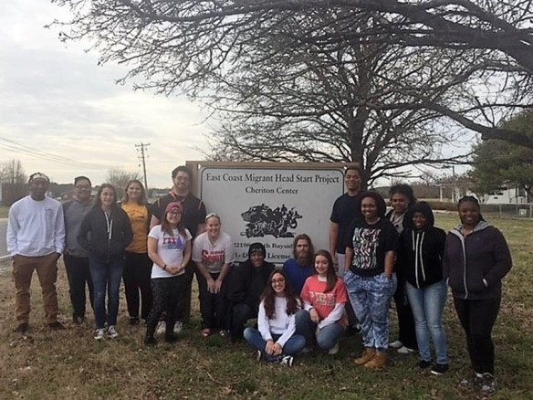 Members of Alpha Phi Omega and Gamma Sigma Sigma improved the Cheriton Head Start Center in their community service project.